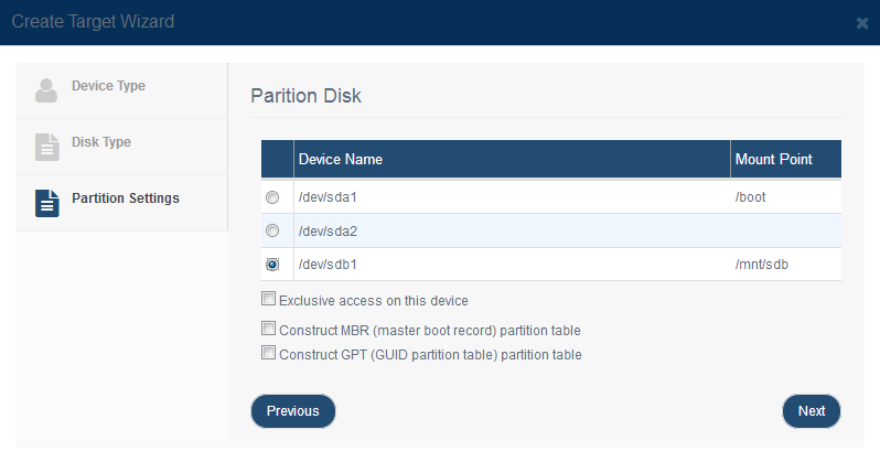 Create iSCSI Target by Using Disk Partition