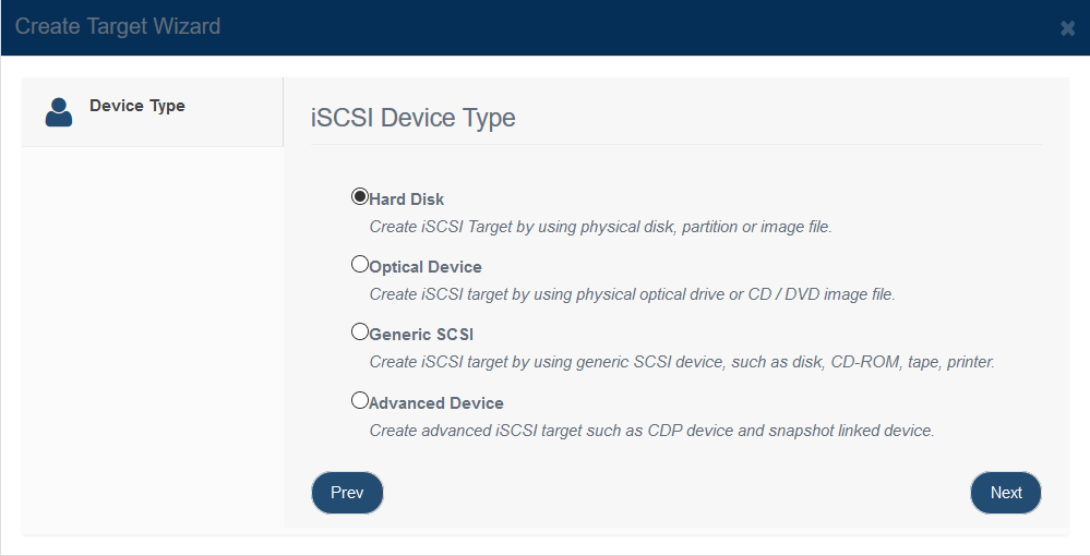 Create iSCSI Target from VHD file